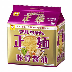 Maruchan SEIMEN Tonkotsu Syoyu soy and pork bone soup Ramen noodle 108g 5packs マルちゃん 正麺 豚骨醤油(袋5食)
