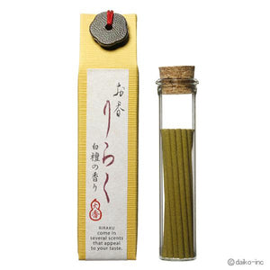 "Japanese Incense ""Byakudan"" Sandalwood 80mm×15pieces お香りらく 白檀"