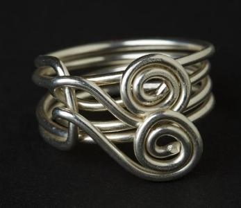 Double Spiral Sterling Silver Ring