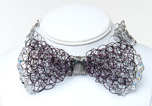 Black and Silver Bowtie with Swarovski Crystals