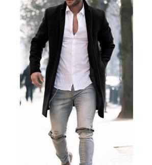 Men's Fashion Street Long Faux Jacket