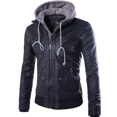 Double-Layer Hooded Zipper Men's Leather Jacket 993