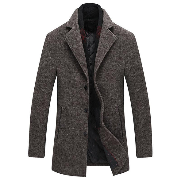 Thick Wool Blends Woolen Pea Coat Male 126