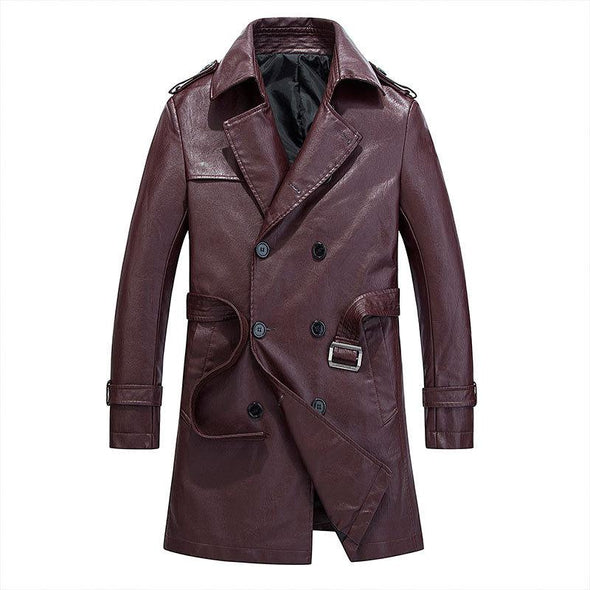 Warm Padded Leather Coat