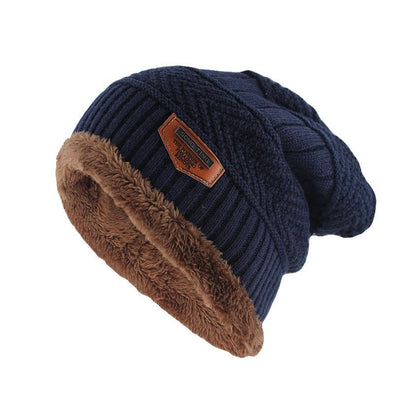 Mens Wool Velvet Knitted Hat