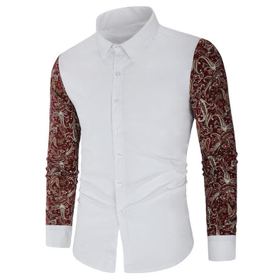 Mens Floral Printing Flax Breathable Long Sleeve