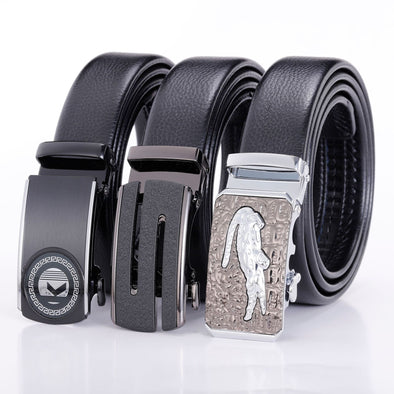 Men's Genuine Leather Automatic Buckle Belt-4
