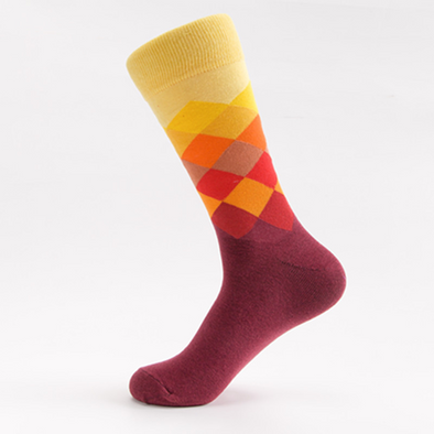Men's colored diamond plaid gradient socks 217