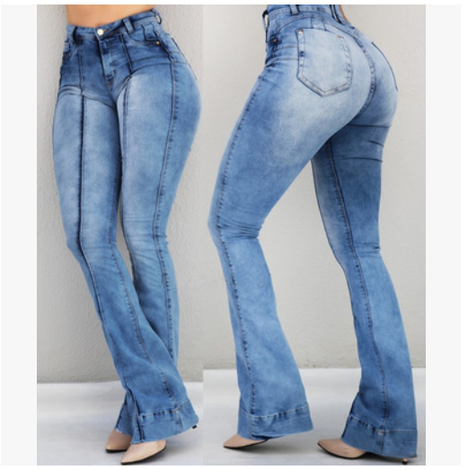 Elastic Retro Flared Wide Leg Jeans
