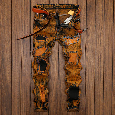 Retro Tide Pants Men'S Hole Personality Old Straight Men'S Jeans
