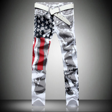 High Stretch Slim Casual Flag Print Jeans