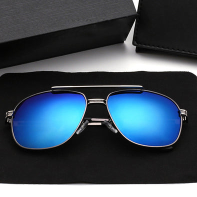 Sunglasses Gray Frame Blue Lens