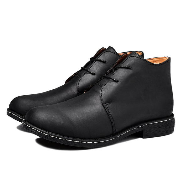 BossWears British Martin Boots In The Shoes Men'S Leather Boots Round Head Retro Students 608