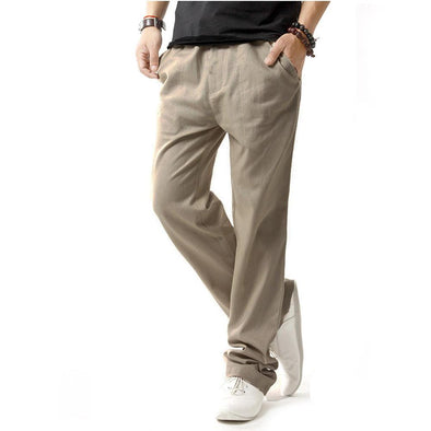 Mens Casual Breathable Cotton Linen Drawstring Solid Color Pants