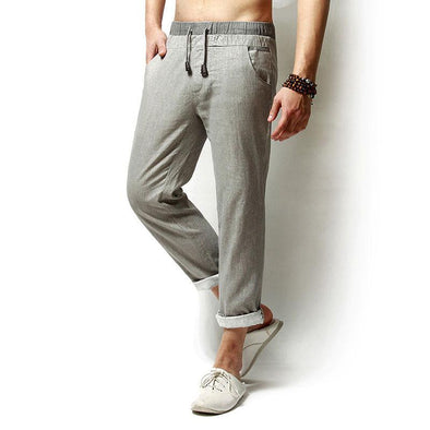 BossWears Spring Summer Mens Linen Solid Color Loose Leisure Pants