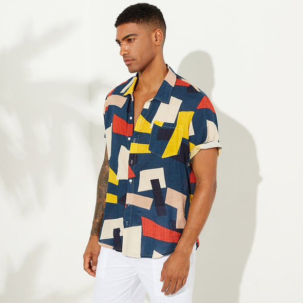 Men's Floral Colorblock Short Sleeve Casual Lapel Beach