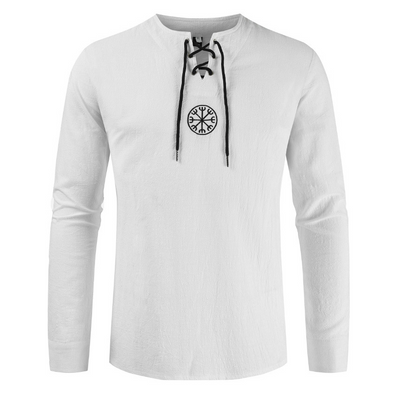 Men's round neck embroidered long sleeve linen shirt 218