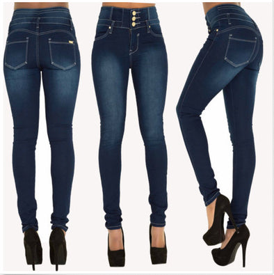 Button High Waist Elastic Jeans