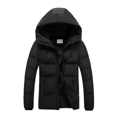 Zipper Hooded Collar Warm Outdoor Coat
