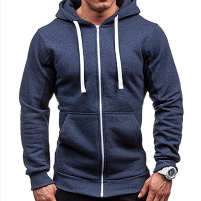 Solid Color Hooded Collar Zipper Casual Hoodies