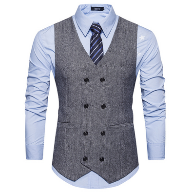 Men's wool double-breasted suit vest 239