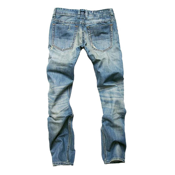 BossWears Casual Ripped Fold Stitching Straight Washed Jeans For Men 006