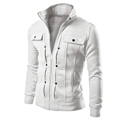 Stand Collar Button Hoodie