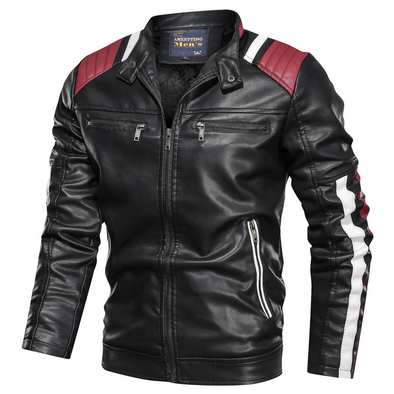Colorblock Leather Jacket