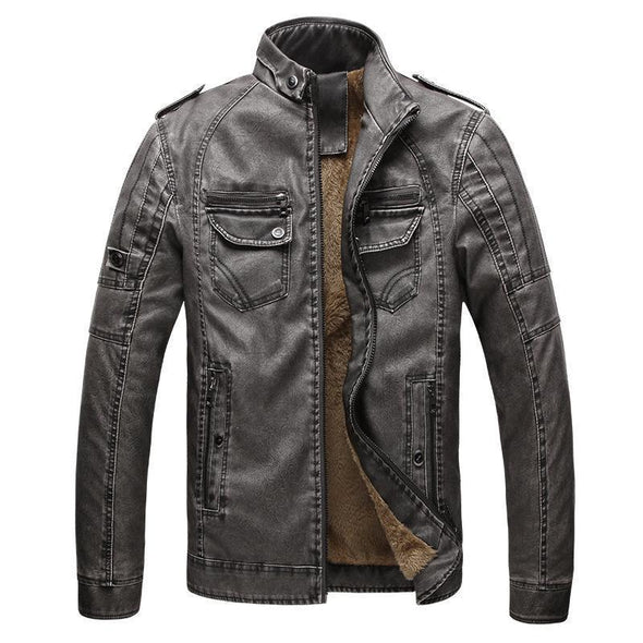 Men's Classic Warm Leather Jacket With Flannel 989