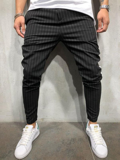 Men's Stripe Elastic Waist Slim Casual Tousers
