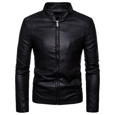 Slim Fit Collar Leather Jacket