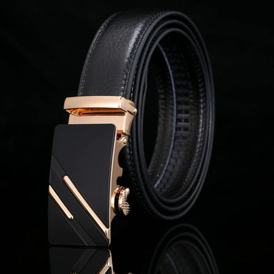 Men's Genuine Leather Automatic Buckle Belt-3