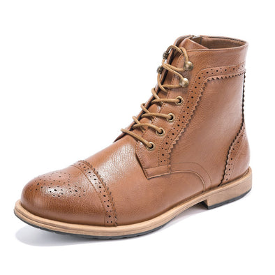 Men's Motorcycle Work Boots Brogue Lace Up Oxford Wingtip Cap Toe