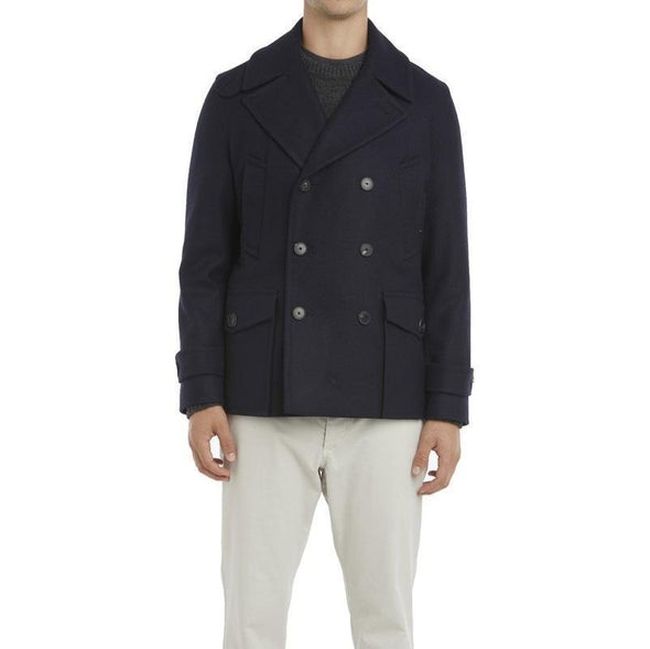 Navy Double  Breasted Wool Peacoat