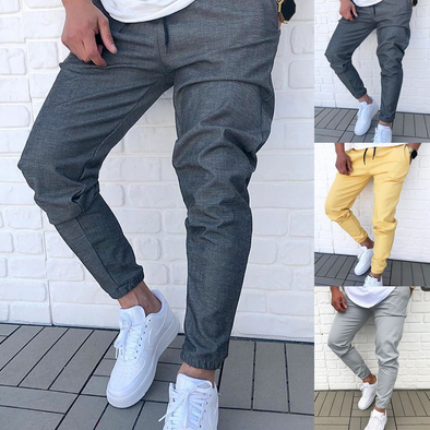 Men's Solid Color Lace-Up Sports Pants 225