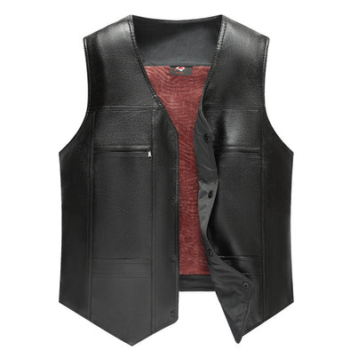 Multi-Pocket Warmth Thick Leather Vest 087