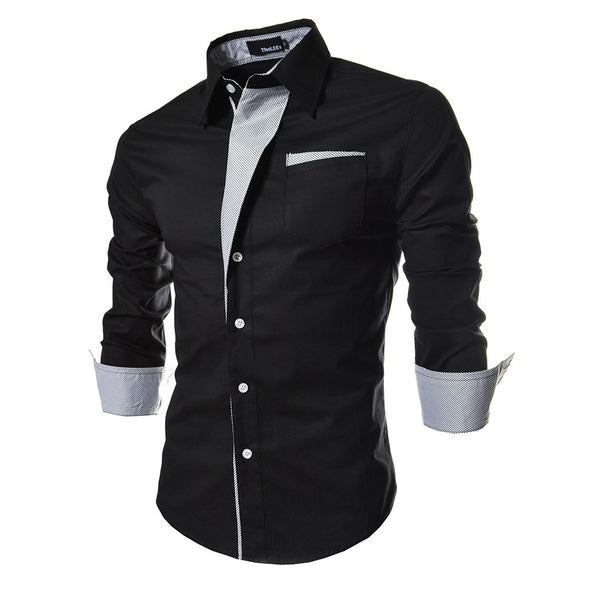 Bosswears Casual Striped Long-Sleeved Personalized Slim Shirt 023