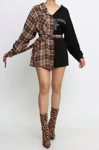 Brown Plaid Shirt Dress PRE ORDER