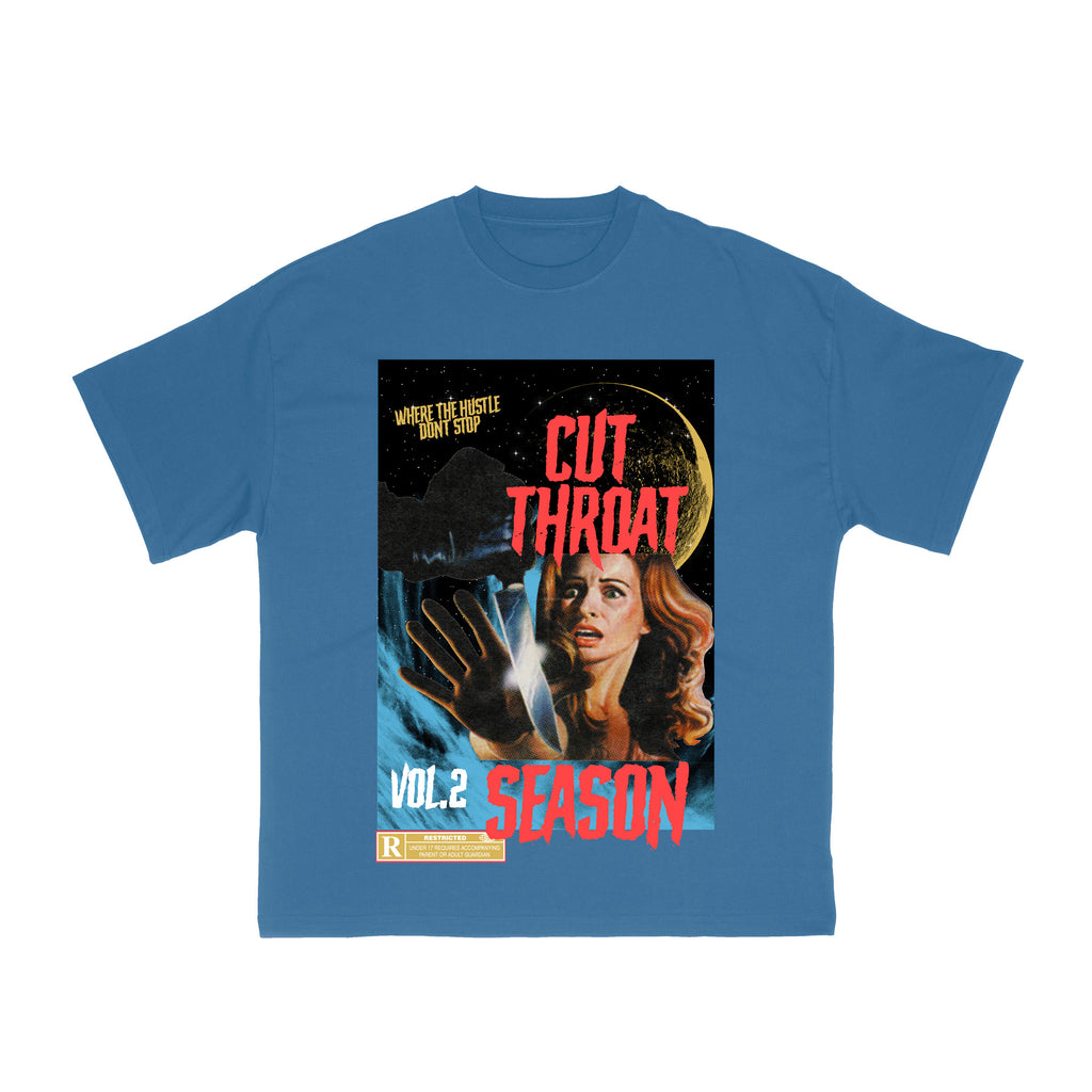 Vintage Cut Throat Graphic T-Shirt - Blue