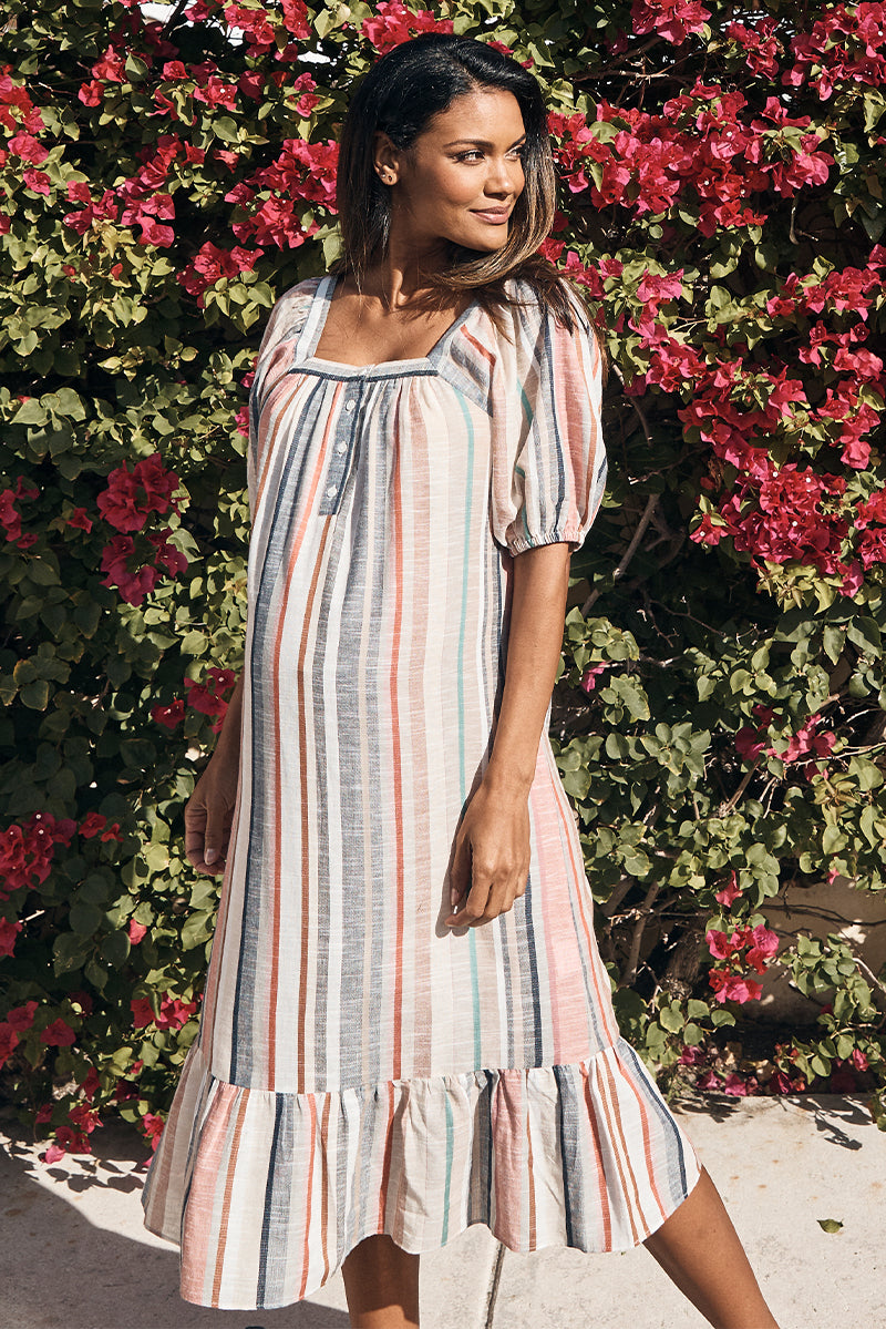 striped maternity square neck dress in melon stripe side view - frances hart