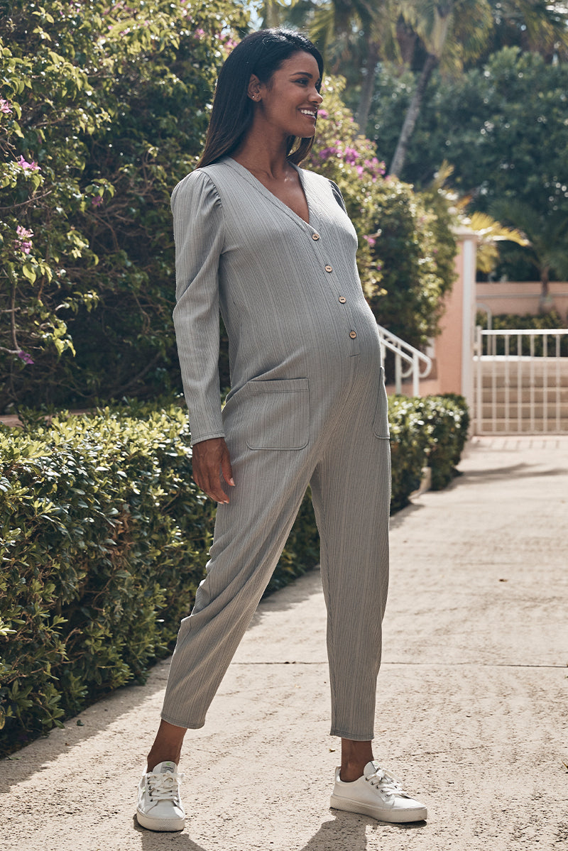 maternity v-neck ribbed jumpsuit in slate side view - frances hart