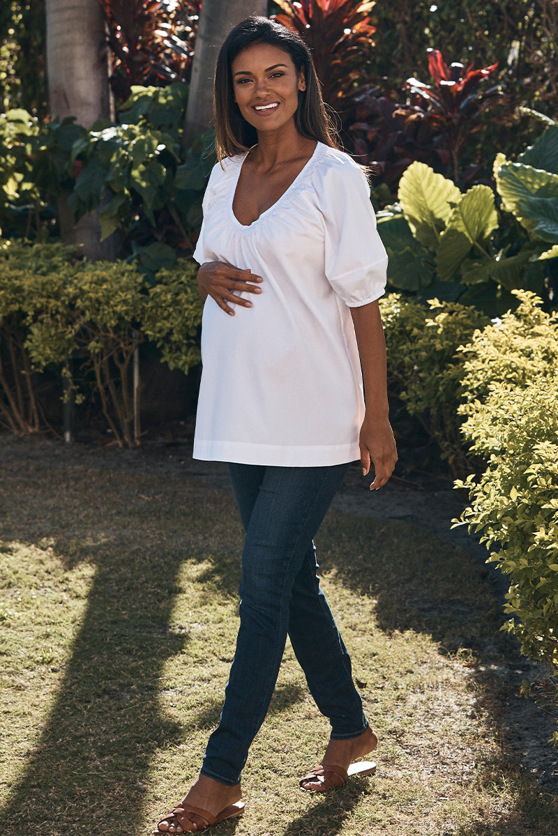 shirred neck maternity top in white front view - frances hart
