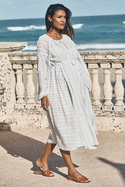 boho tie maternity dress in water blue and white front view - frances hart