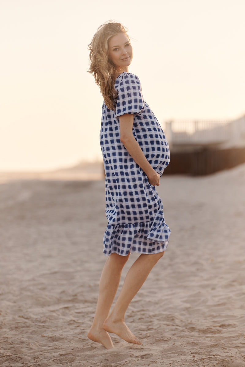 square neck maternity dress in blue geo side view 3 - frances hart