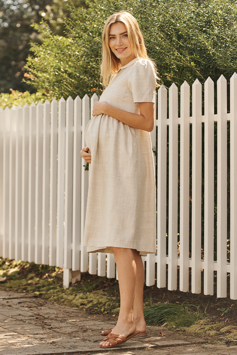 peter pan collar maternity dress in flax side view - frances hart