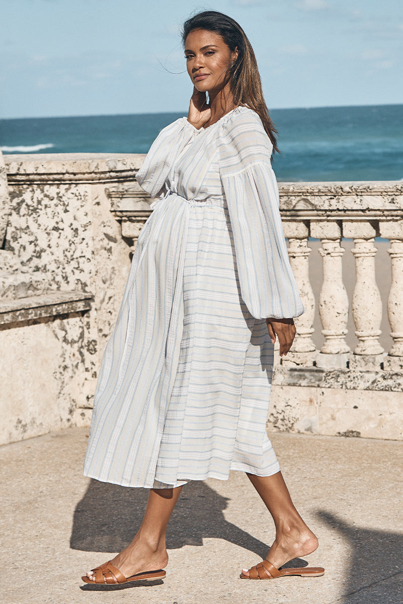 boho tie maternity dress in water blue and white side view - frances hart