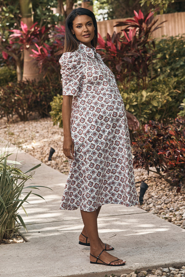 shirred sleeve maternity dress in peony side view - frances hart
