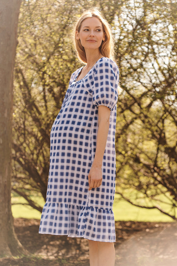 square neck maternity dress in blue geo side view - frances hart