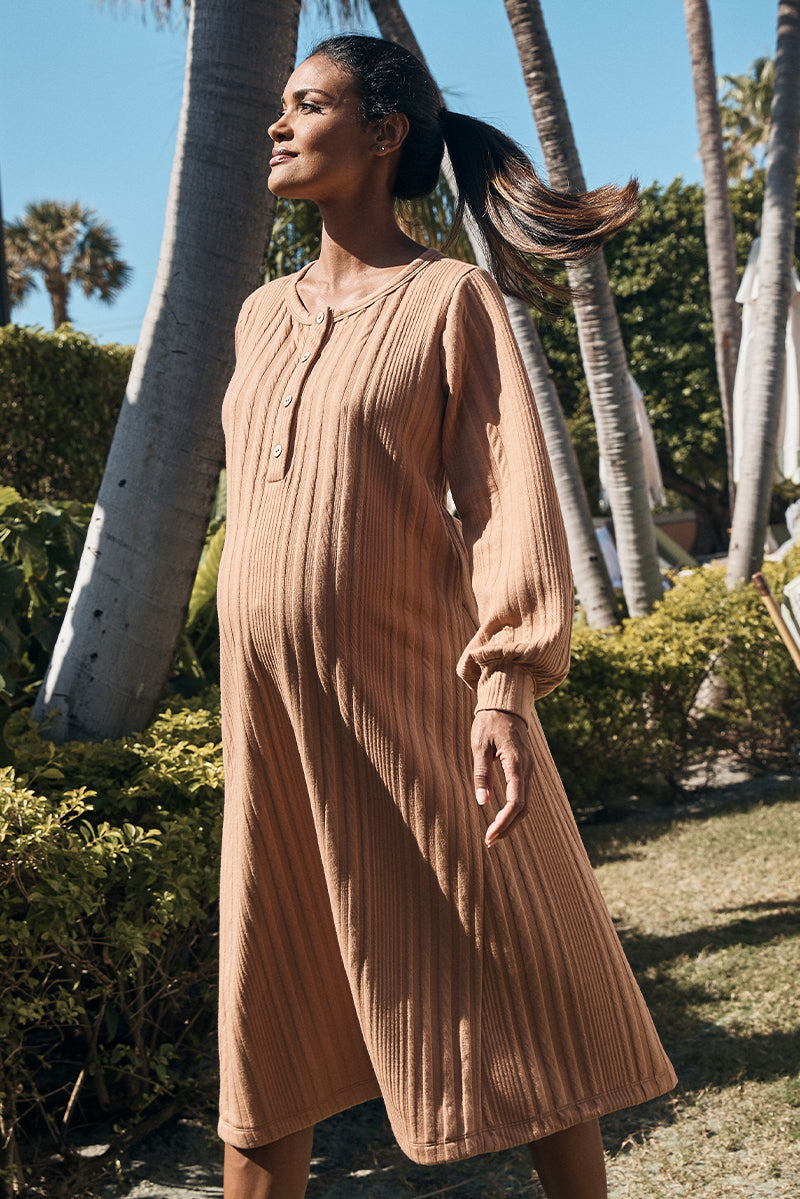 ribbed knit maternity henley dress in camel side view - frances hart