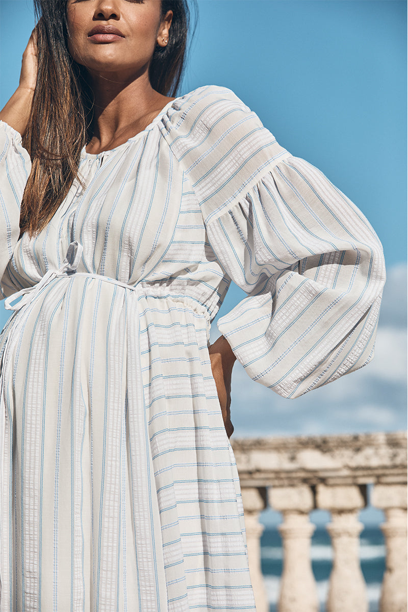 boho tie maternity dress in water blue and white product detail - frances hart